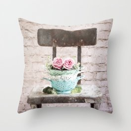 Colander Roses Throw Pillow