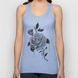 Black and White Rose Flower Unisex Tank Top