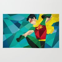 dc comics Area & Throw Rugs featuring DC Comics Robin by Eric Dufresne