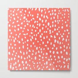 Living Coral - White Polka Dots, Spots Metal Print