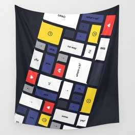 LOL, Mondrian – White / Blue / Yellow / Red Abstract Print Wall Tapestry