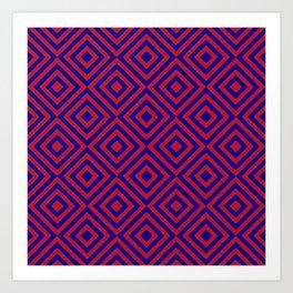 Red Blue Alternating Diamonds Art Print