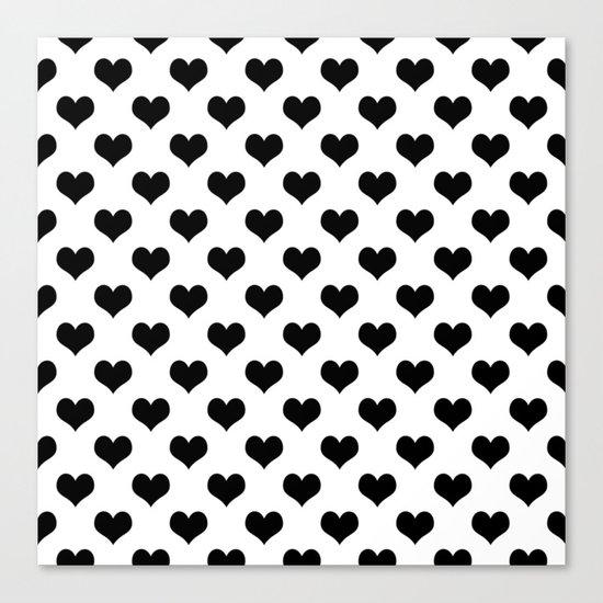 White Black Hearts Minimalist Canvas Print
