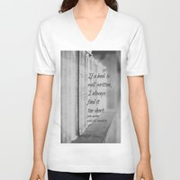 jane austen V-neck T-shirts featuring Jane Austen Book by KimberosePhotography