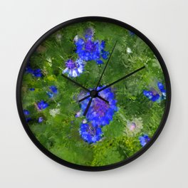 Summer Green Meadow and Blue Flowers Wall Clock