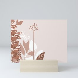 Botanicals and Butterfly Graphic Design 2 Sherwin Williams Cavern Clay SW7701 Mini Art Print
