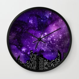 Starry Skyline Neck Gator City Girl Wall Clock
