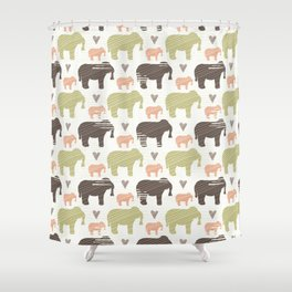 Brown Pink and Green Elephant Silhouette Seamless Shower Curtain