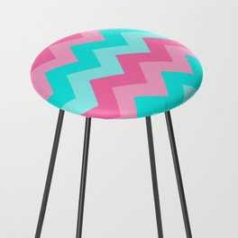 Hot Pink Turquoise Aqua Blue Chevron Zigzag Pattern Print Counter Stool