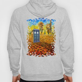 Blue phone Booth at Fall Grass Field Painting Hoody