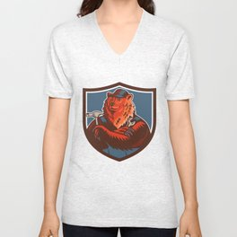Russian Bear Builder Handyman Crest Woodcut Unisex V-Neck
