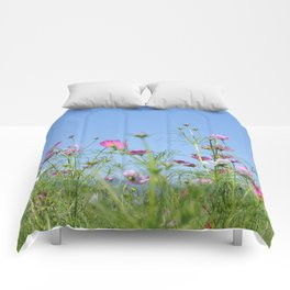 Colorful Cosmos Blue Sky Comforters