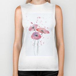 Red poppy flowers watercolor painting Biker Tank