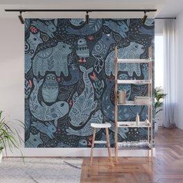 Arctic animals. Polar bear, narwhal, seal, fox, puffin, whale Wall Mural