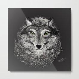 Animal Illustration - Volf - Drawing Metal Print
