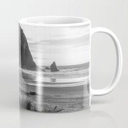 Cannon Beach Sunset - Black and White Nature Photography Coffee Mug