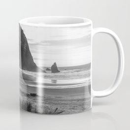 Cannon Beach Sunset - Black and White Nature Photography Coffee Mug
