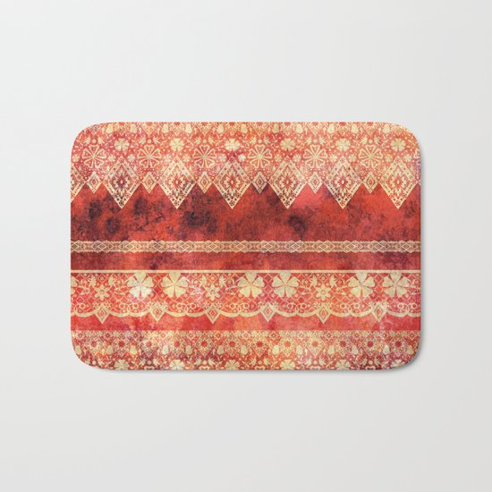 Retro . Vintage lace on a red background . Bath Mat