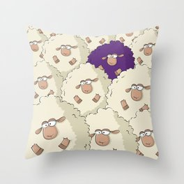 Sheep Pattern | Purple Throw Pillow