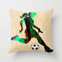 soccer Throw Pillows featuring Soccer by marvinblaine