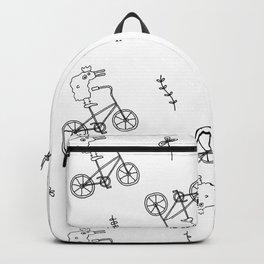 chicken on a bike pattern Backpack