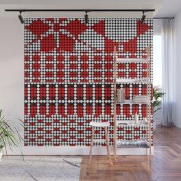 Pixel mosaic,red Wall Mural