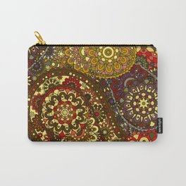 Retro 1960's Paisley Pattern in Red and Gold Carry-All Pouch