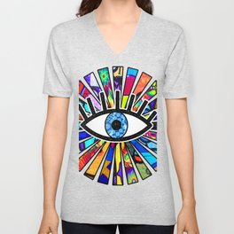 Greek Evil Eye Graffiti Sun Rays Unisex V-Neck