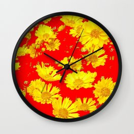 RED-YELLOW COREOPSIS FLOWERS ART Wall Clock