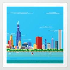 8-bit Pixel Chicago Skyline Art Print