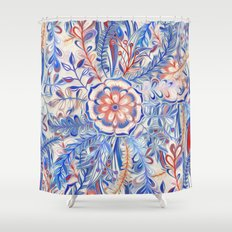 Boho Flower Burst in Red and Blue Shower Curtain