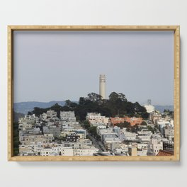 Streets Of San Francisco With Coit Tower Serving Tray