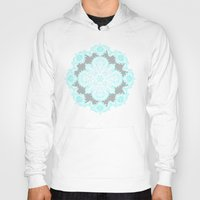 bedding Hoodies featuring Teal and Aqua Lace Mandala on Grey by micklyn