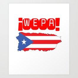 WEPA Puerto Rican Flag Gift for Men & Women Art Print