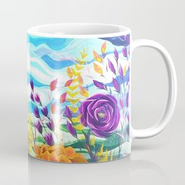 Summer Spectacular, Abstract Floral Landscape, Bright Wild Flowers Coffee Mug
