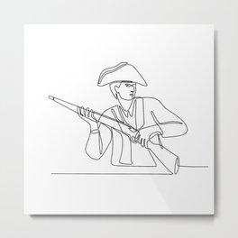 American Minuteman Patriot Continuous Line Metal Print