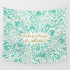 Adventure is Calling – Turquoise & Gold Palette Wall Tapestry