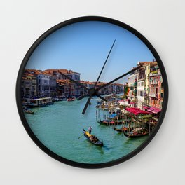 Venice canal with boats & gondola | Italy (Europe) | Colorful Travel Photography Wall Clock