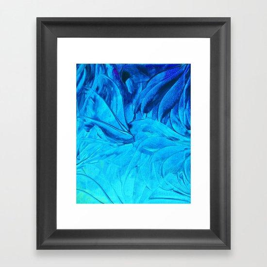 PETAL PINWHEELS, Revisited -  Indigo Royal Blue Turquoise Floral Pattern Swirls Ocean Water Flowers Framed Art Print