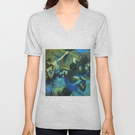 Blue Dancers by Edgar Degas Unisex V-Neck