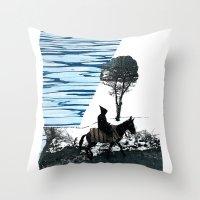 scott pilgrim Throw Pillows featuring Pilgrim by MaridzaKimSarah
