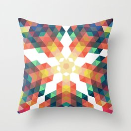 Retro star backdrop. Mosaic hipster background made of triangles Throw Pillow
