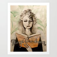 tenenbaum Art Prints featuring Margot Tenenbaum by Justine Lecouffe
