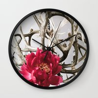 antler Wall Clocks featuring Antler Flower by Jodi Kassowitz Photography