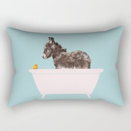 Baby Donkey in Bathtub Rectangular Pillow