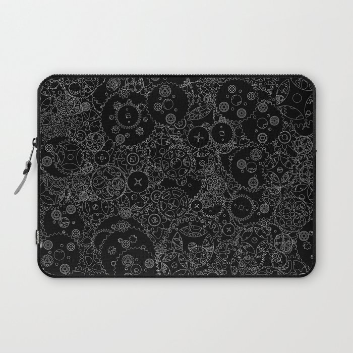 Clockwork B&W inverted / Cogs and clockwork parts lineart pattern Laptop Sleeve