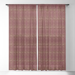 Maroon and Gold Spiro Pattern Sheer Curtain