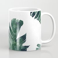 banana leaf Mugs featuring Banana Leaf Watercolor Pattern #society6 by 83 Oranges™