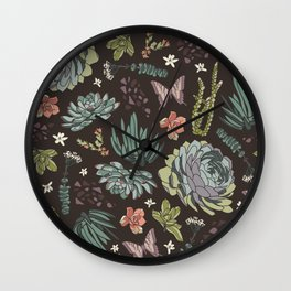Cacti by Night Wall Clock
