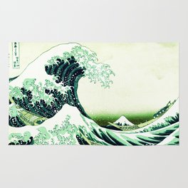 The Great Wave Green Rug